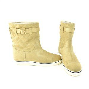 """CHANEL: Gold Shimmer, Quilted Suede """"CC"""" Logo Short Boots"""